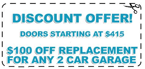Garage Door Discount Offer for 2 Car Garage - Door Replacement 2X
