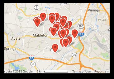 map of garage doors serviced in Mabelton GA