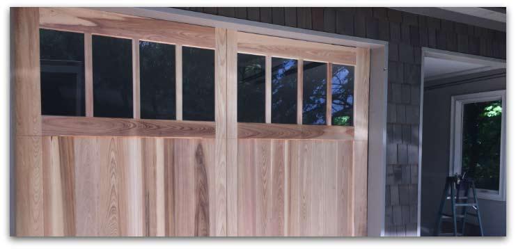 Close up of wooden garage doors