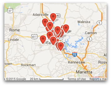 map of garage doors serviced in Cartersville GA