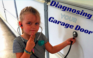 Girl with stethoscope diagnosing a garage door