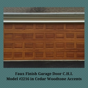 Faux Finish Garage Door C.H.I. Model #2216 in Cedar Woodtone Accents