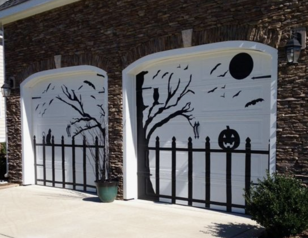 Contact Paper Halloween Garage Door Design