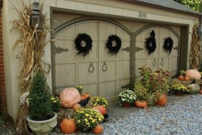 Rustic Charm Garage Door Decoration with Pumpkins