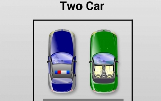 Garage Door Size Infographic Showing 1 car, 2 car and 3 car garages