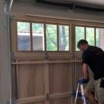 Garage door with shaker siding inside view