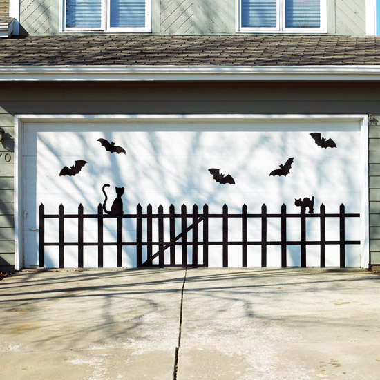 Garage Door with Bats - Halloween